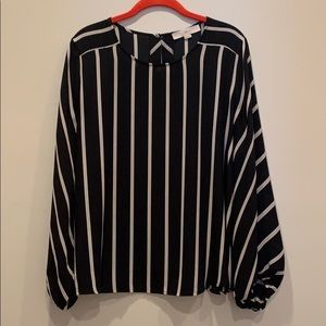 Loft size M Black and Tan striped long sleeve top